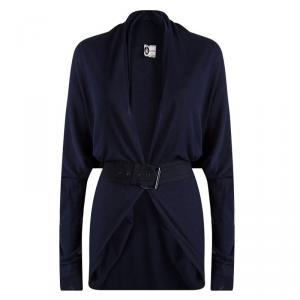 Lanvin Navy Blue Cotton Knit Draped Belted Cardigan M