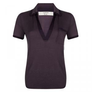 Lanvin Purple Knit Contrast Trim Short Sleeve Top M