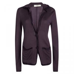 Lanvin Purple Knit Contrast Trim Button Front Cardigan S