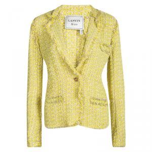 Lanvin Yellow Textured Fringed Edge Jacket M