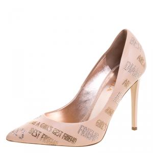 Le Silla Peach Crystal Embellished Leather Pointed Toe Pumps Size 40