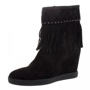 Le Silla Black Suede Concealed Fringed Wedge Boots Size 40