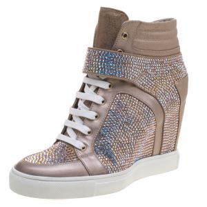 Le Silla Beige Crystal Embellished Suede and Leather Burma Wedge Sneakers Size 41