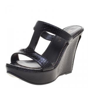 Le Silla Black Python Embossed Wedge Slides Size 37.5