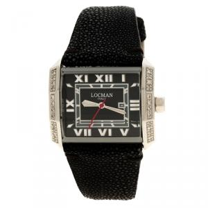 Locman Black Diamonds Otto N.B0009 Sharkskin Leather Women's Wristwatch 37MM