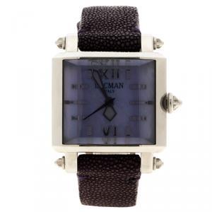 ساعة يد نسائية لوكمان N.F0135 جلد سمك قرش صدف بنفسجية 37مم