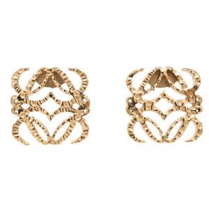 Loewe Anagram Gold Tone Stud Earrings