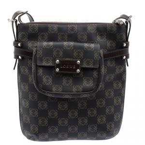 Loewe Dark Brown Vinyl and Leather Logos Anagram Crossbody Bag