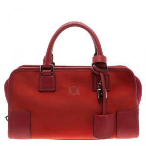 Loewe Red Three Tone Suede Amazona Bag