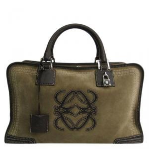 Loewe Bi Color Nubuck/Leather Amazona 36 Satchel Bag