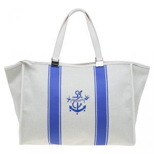 Longchamp White/Blue Canvas Large Nautique Zip Tote