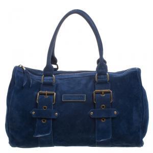 Longchamp Blue Suede Satchel