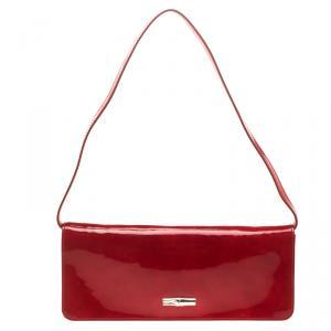 Longchamp Red Patent Leather Rousseau Burnt Clutch