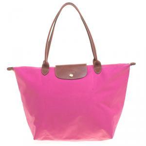 Longchamp Pink Nylon Medium Le Pliage Tote
