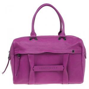Longchamp Magenta Leather 3D Bowler Bag