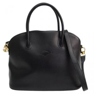 Longchamp Black Leather Au Sultan Dome Satchel