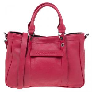 Longchamp Red Leather Small 3D Tote