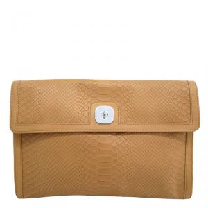 Longchamp Brown Embossed Leather Clutch Bag