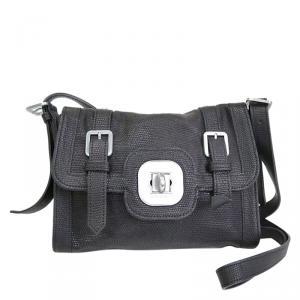 Longchamp Black Textured Leather Crossbody bag