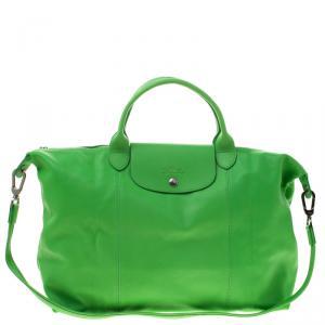 Longchamp Green Leather Large Le Pliage Tote