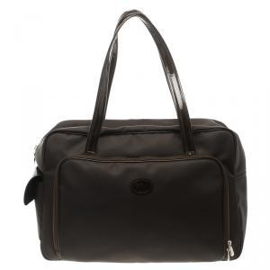 حقيبة سفر لونج شامب نايلون بنية داكنة