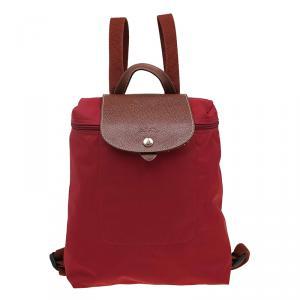 Longchamp Red Nylon Le Pliage Backpack