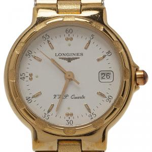 Longines Champagne Gold-Plated Stainless Steel Conquest Women's Wristwatch 26MM