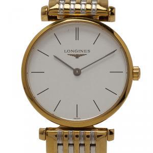 ساعة يد نسائية لونجين لو غراند كلاسيك ستانلس ستيل مطلي ذهب بيضاء 24 مم