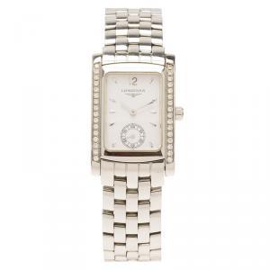 ساعة يد نسائية لونجين دولسي فيتا ستانلس ستيل ألماس بيضاء 22مم
