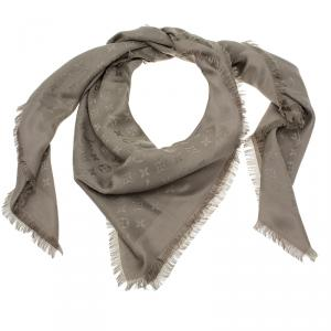 Louis Vuitton Beige Wool And Silk Monogram Shawl
