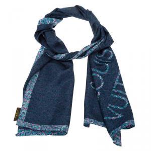 Louis Vuitton Blue Printed Silk Logo Stole
