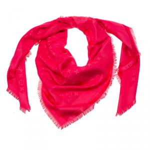 Louis Vuitton Pink Monogram Silk and Wool Shawl