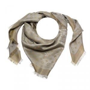 Louis Vuitton Gold and Grey Monogram Shine Wool & Silk Fringe Edged Shawl
