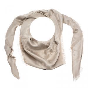 Louis Vuitton Beige Monogram Wool & Silk Fringe Edged Shawl