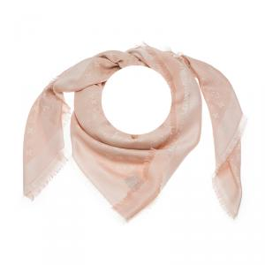 Louis Vuitton Blush Pink & White Monogram Denim Silk Wool Fringe Edged Shawl