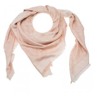 Louis Vuitton Blush Pink Monogram Denim Silk Wool Fringe Edged Shawl