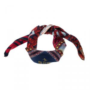 Louis Vuitton Red Printed Tresor Silk Square Scarf