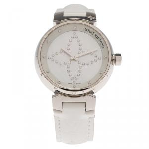 Louis Vuitton Mother of Pearl Stainless Steel Tambour Women's Wristwatch 34MM