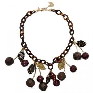 Louis Vuitton Chérie Purple And Black Gold Tone Necklace