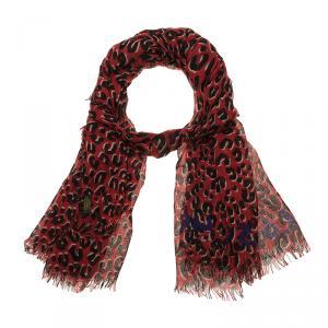 Louis Vuitton Red Leopard Print Stole