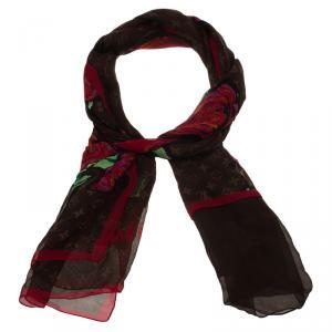 Louis Vuitton Limited Edition Monogram Roses Silk Chiffon Scarf