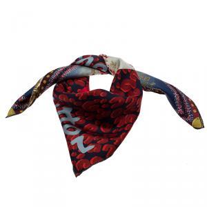 Louis Vuitton Red Printed Tresor Silk Square Scarf