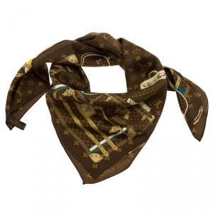 Louis Vuitton Monogram Brown Trunks Silk Square Scarf