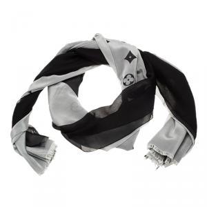 Louis Vuitton Black and Grey Fleur Print Stole