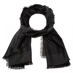 Louis Vuitton Charcoal Grey Monogram Shine Wool Silk Shawl