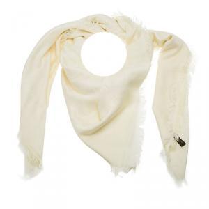 Louis Vuitton Cream Monogram Silk and Wool Shawl