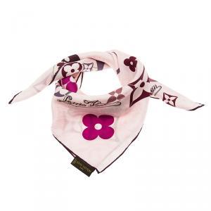 Louis Vuitton Pink Fleur Silk Square Scarf