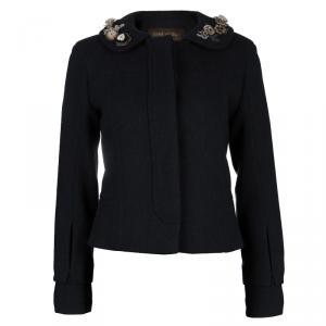 Louis Vuitton Black Wool Beaded Floral Applique Collar Detail Jacket S