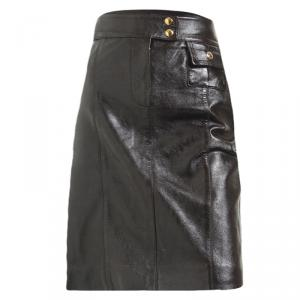 Louis Vuitton Dark Brown Leather Skirt S