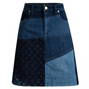 Louis Vuitton Indigo Colorblock Denim Monogrammed Patchwork Skirt L
